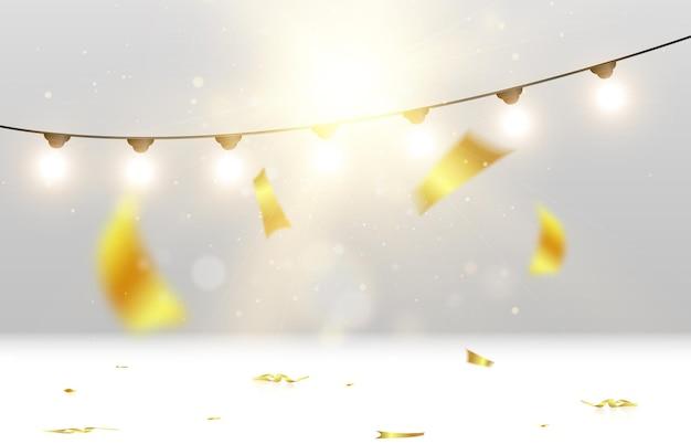 Glückwunschillustration mit vielen fallenden partikeln und girlanden