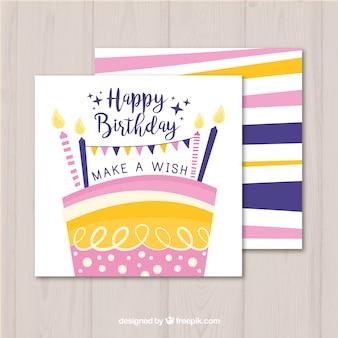 Glückwunschkarte mit buntem kuchen