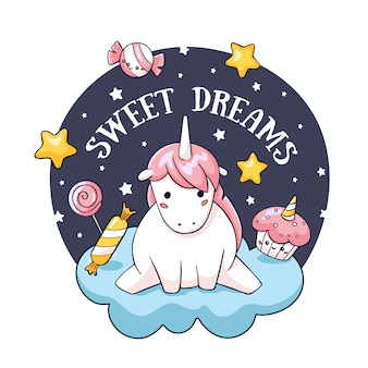 Glückwunschkarte mit gekritzeleinhorn auf wolke und süßigkeit