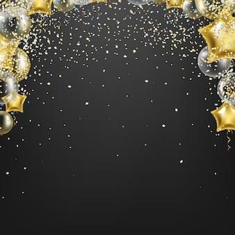 Glückwunschkarte mit goldenen luftballons