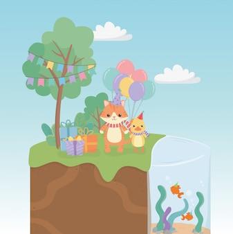 Glückwunschkarte mit kleinen tieren in den feldcharakteren