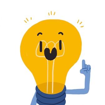 Glühbirne, die eine idee hat