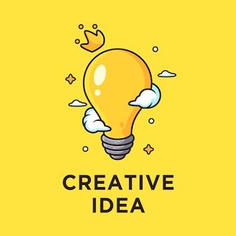 Glühbirne für kreative idee. karikaturillustration, lokalisiert auf gelb