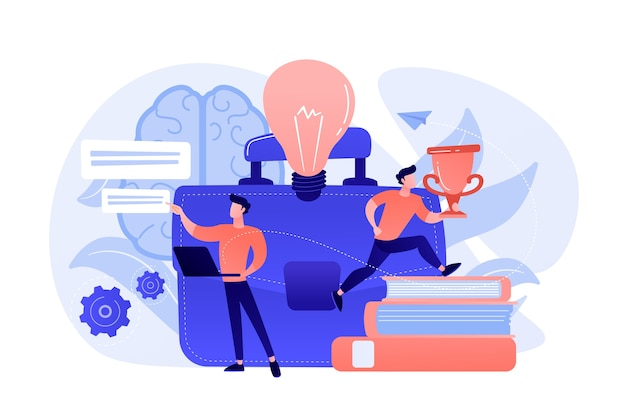 Glühbirne, geschäftsmann, der mit laptop arbeitet und trophäenbecher erhält. entrepreneurship, start-up-business und opportunity-konzept auf weißem hintergrund.