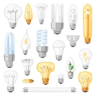 Glühbirne glühbirne idee lösungssymbol und elektrische beleuchtung lampe cfl oder led elektrizität und fluoreszierende licht illustration auf weißem hintergrund eingestellt