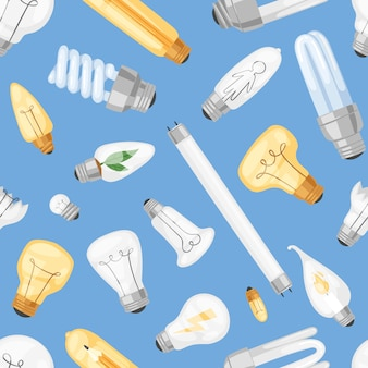 Glühbirne glühbirne idee lösungssymbol und elektrische beleuchtung lampe cfl oder led-elektrizität und fluoreszierendes licht illustration set nahtlosen muster hintergrund