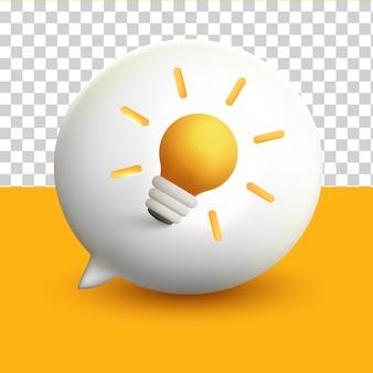 Glühbirne idee 3d minimale weiße chat-blasen-benachrichtigung auf gelbem transparentem hintergrund