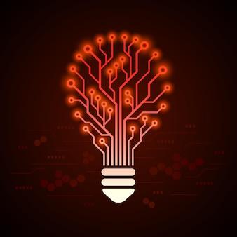 Glühbirne in form einer leiterplatte mit glüheffekten. hi tech design konzept