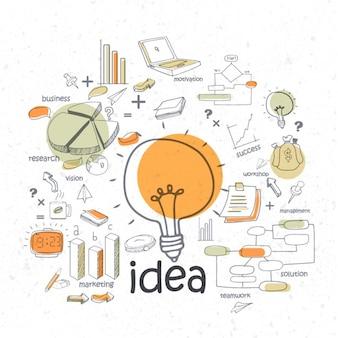 Glühbirne infografik mit business-elemente