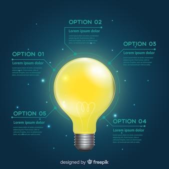 Glühbirne infografiken vorlage