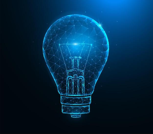 Glühbirne low poly art. polygonale illustrationen der konzeptidee auf einem blauen hintergrund.