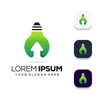 Glühbirne mit pfeil-logo-design