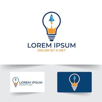 Glühbirne mit raketenstart-illustrationsvorlage, boost-ideen-illustrationsdesign, raketensymbol, glühbirnensymbol isoliert auf weißem hintergrund