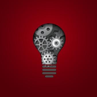 Glühbirne mit zahnrädern darin, abbildung