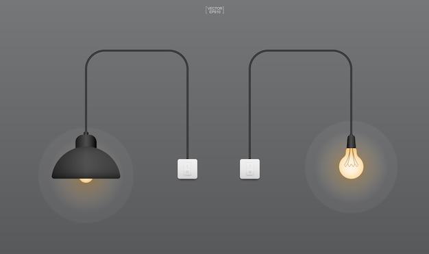 Glühbirne oder lampe mit dunklem hintergrund