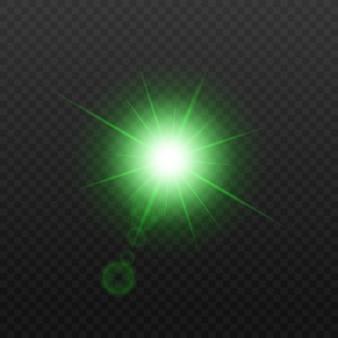 Glühbirne oder sternstrahlen blinken licht realistische effektillustration auf transparentem hintergrund. abstraktes rundes leuchtendes feiertagsbeleuchtungselement.