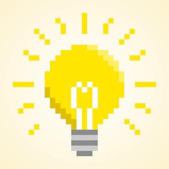 Glühbirne pixel konzept.