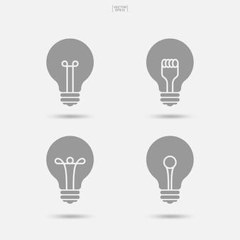 Glühbirne-symbol. lampenzeichen und -symbol. vektor-illustration.