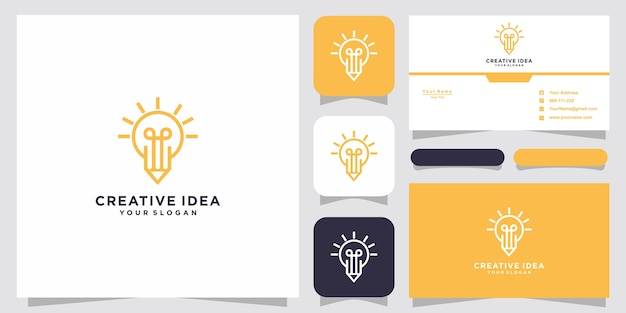 Glühbirne und bleistift logo und visitenkarte