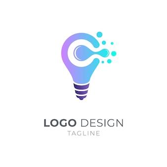 Glühbirne und buchstabe c logo-konzept