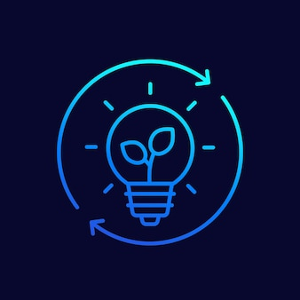 Glühbirne und pflanzensymbol, linear