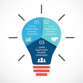 Glühbirne vektor infografik präsentationsvorlage kreisdiagramm ideendiagramm mit 3 optionen