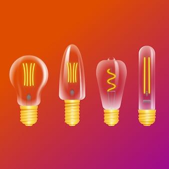 Glühbirnen auf hintergrund mit farbverlauf