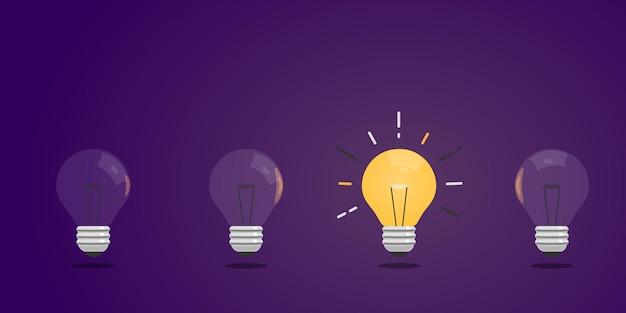 Glühbirnen in einer reihe. ideenkonzept