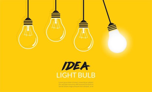 Glühbirnen-konzept. kreativer ideenhintergrund