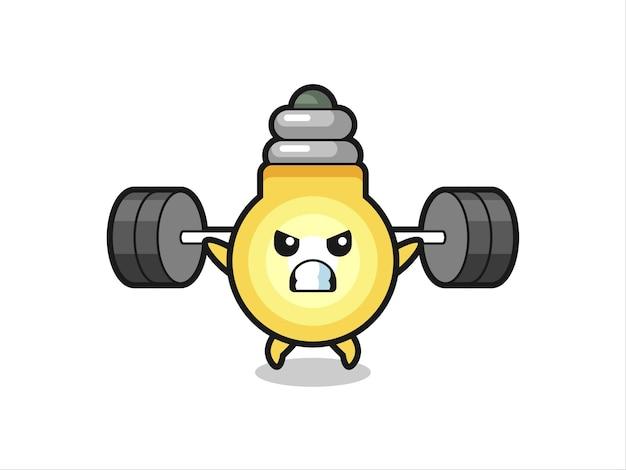 Glühbirnen-maskottchen-cartoon mit einer langhantel, süßes design für t-shirt, aufkleber, logo-element