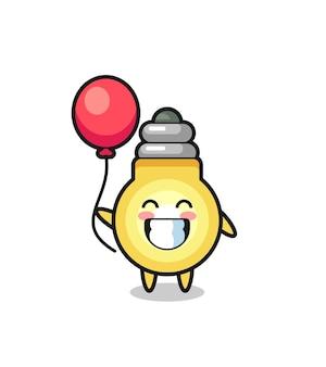 Glühbirnen-maskottchen-illustration spielt ballon, niedliches design für t-shirt, aufkleber, logo-element
