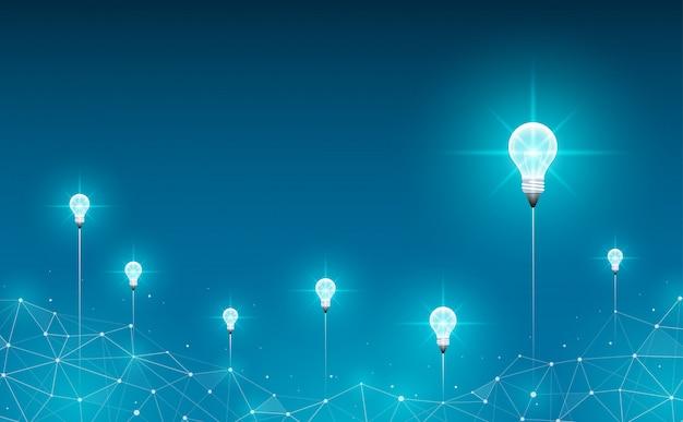 Glühbirnen starten im hintergrund. geometrischer polygonaler hintergrund. ideen-, geschäfts-, wissenschafts- und technologiekonzept