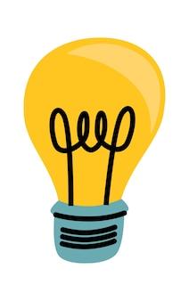 Glühbirnengelb leuchtende karikaturvektorillustration, ideensymbol