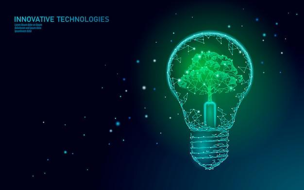 Glühbirnenlampe, die energieökologiekonzept spart. polygonaler hellblauer baum innerhalb der elektrischen energieenergieillustration der elektrizität