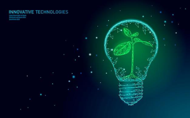Glühbirnenlampe, die energieökologiekonzept spart. polygonaler hellblauer keimling kleiner pflanzensämling innerhalb der elektrischen energieenergieillustration der elektrizität