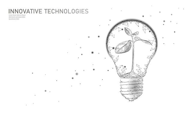 Glühbirnenlampe, die energieökologiekonzept spart. polygonaler heller weißer keimling des hellen weißen sprosses innerhalb der grünen energieenergieillustration der elektrizität