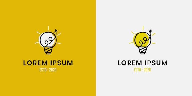 Glühbirnenlampe logo intelligente idee mit wachstumspfeilsymbol