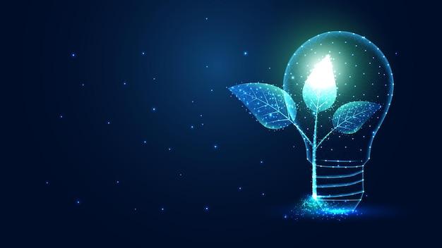 Glühbirnenlampe mit sprossenpflanzensämling, der energieökologiekonzept spart. leitungsverbindung. low-poly-wireframe-design. abstrakter geometrischer hintergrund. vektor-illustration.