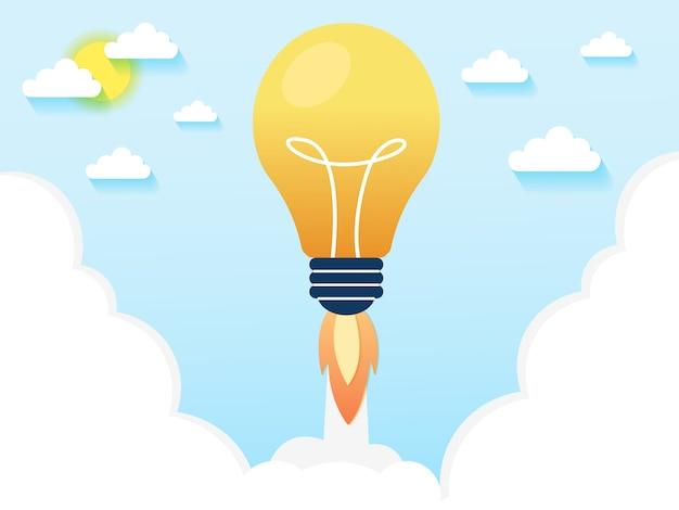 Glühbirnenraketenstart für ideenschub