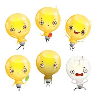 Glühbirnenzeichen. cartoon lampen maskottchen in dynamischen posen und lustigen emotionen