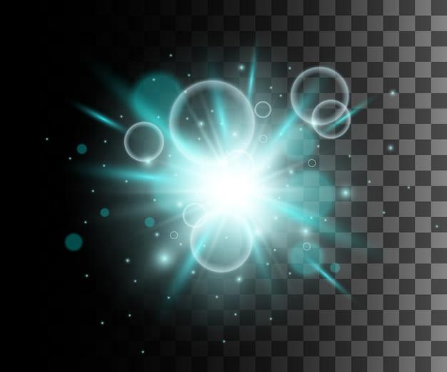 Glühblauer transparenter effekt, linseneffekt, explosion, glitzer, linie, sonnenblitz, funke und sterne. für illustrationsschablonenkunst, für weihnachtsfeier, magischer blitz energiestrahl