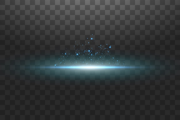 Glühblauer transparenter effekt, linseneffekt, explosion, glitzer, linie, sonnenblitz, funke und sterne.