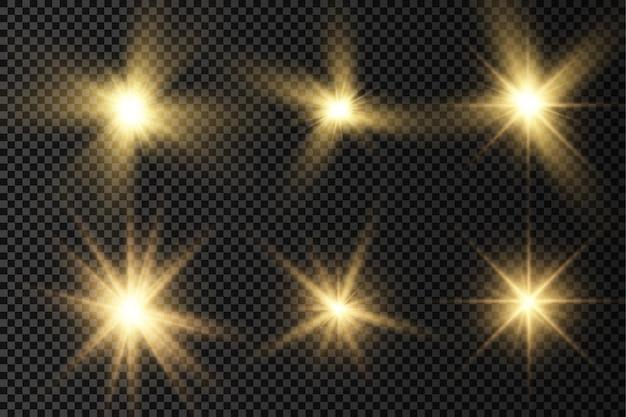 Glühen sie heller stern gelb leuchtende geplatzte sonnenstrahlen goldener lichteffekt sonnenschein mit strahlen
