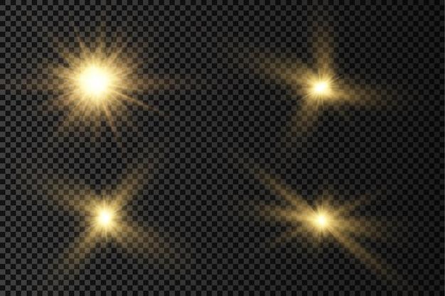 Glühen sie heller stern leuchtendes licht platzen gelbe sonnenstrahlen aufflackern des sonnenscheins