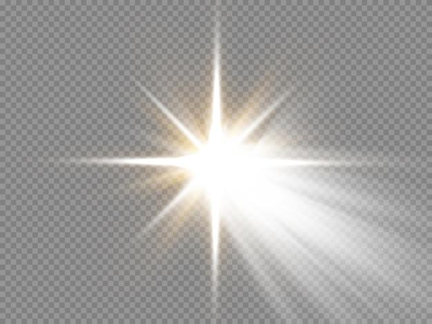Glühen sie isolierte weiße transparente lichteffekt-set lens flare explosion glitzerlinie sonnenblitz