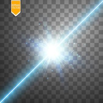 Glühen sie isolierten blauen transparenten effekt, linseneffekt, explosion, glitzer, linie, sonnenblitz, funken und sterne. für illustrationsschablonenkunstdesign, banner für weihnachtsfeier, magischer blitz energiestrahl.