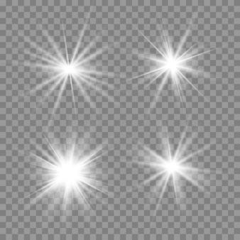 Glühen sie isoliertes weißes transparentes lichteffektset, linseneffekt, explosion, glitzer, linie, sonnenblitz, funken und sterne