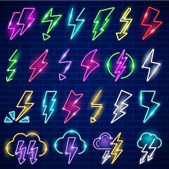 Glühen sie neonblitze. led-panel blinkt donner blitz vektorsymbol. illustration glühen donner panel unterhaltungssymbol, billboard blitzsymbol