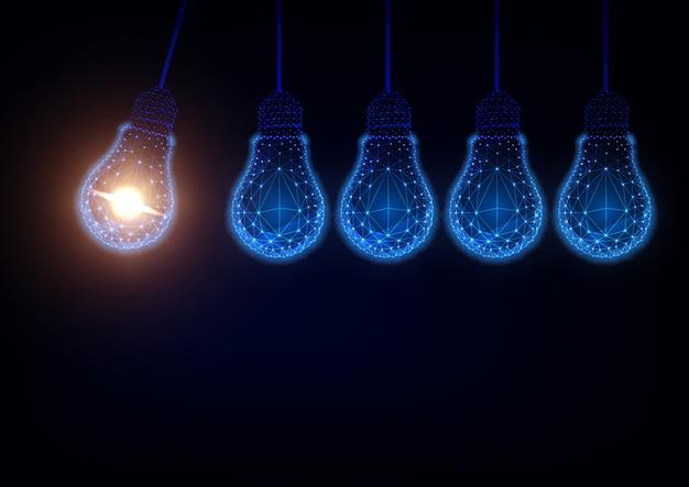 Glühen sie niedrige polyglühlampen, die newton-wiegenhintergrund bilden