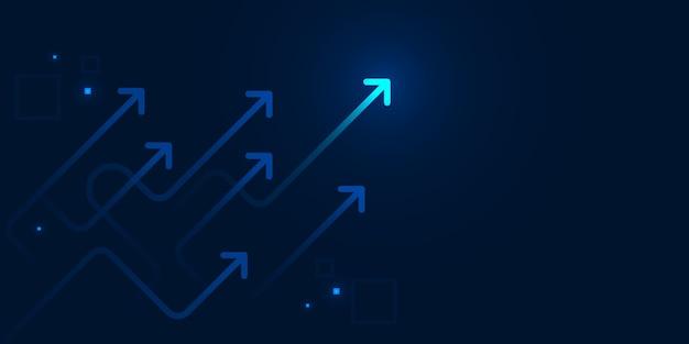 Glühen sie verschlagene pfeile auf dunkelblauem hintergrund mit geschäftswachstumskonzept des kopienraums auf